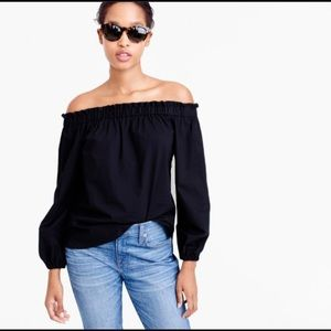 J. CREW | poplin off the shoulder black top 2